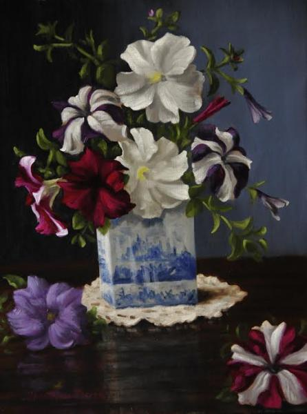 Petunias in a Blue and White Square Vase, oil on linen, 18 x 14 inches, $5,800