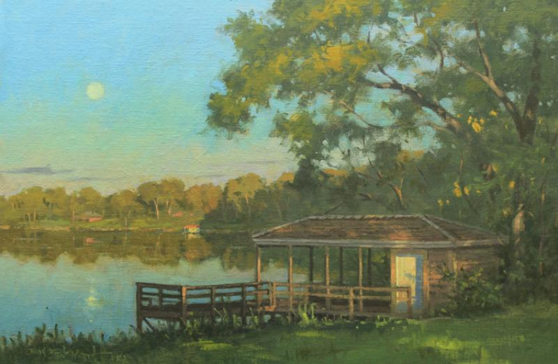 Family Dock, oil on linen, 20 x 30 inches, $5,400