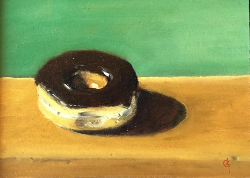 Chocolate Donut, oil on panel, 5 x 7 inches  SOLD