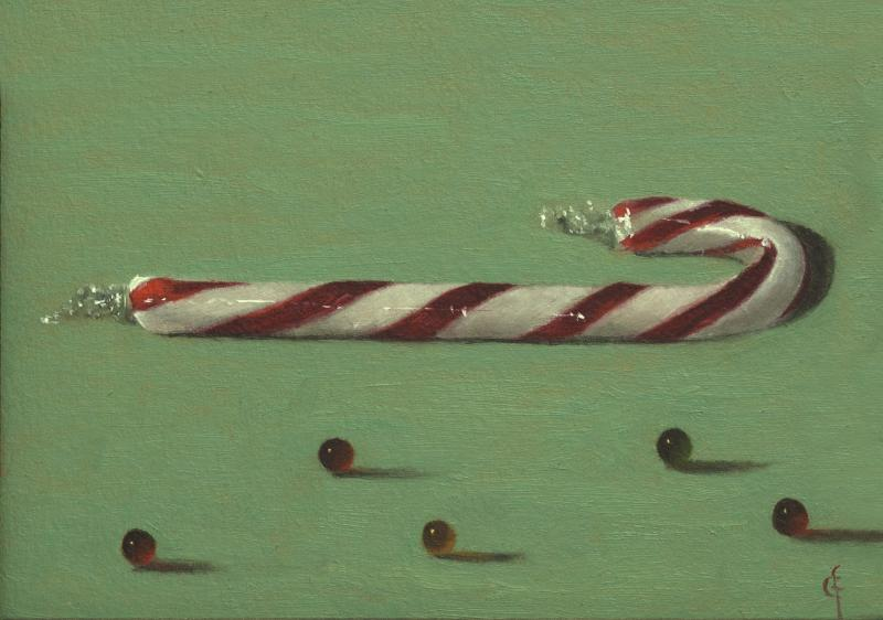 Candy Cane, oil on panel, 5 x 7 inches  SOLD