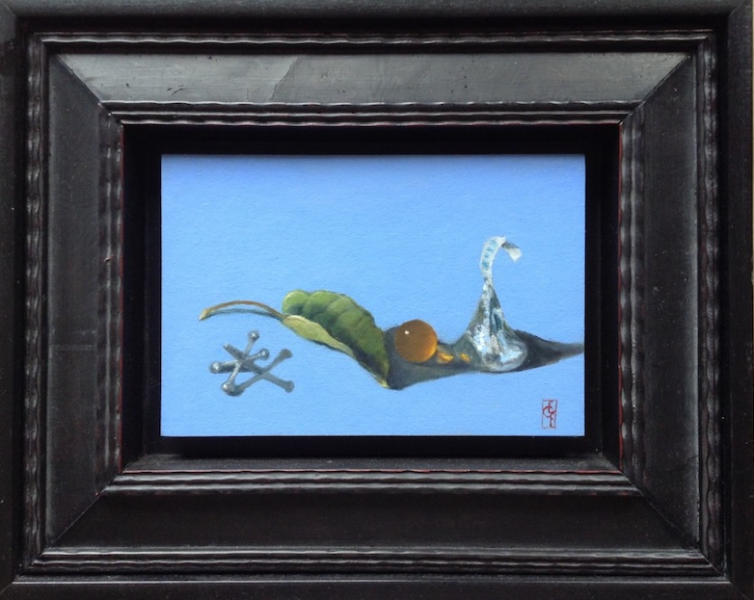 Jack, Kiss, Leaf, oil on panel, 4 x 6 inches, $400