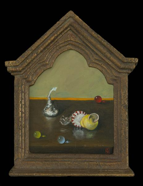 Thin Candy Shell, oil on panel, 8 x 6 inches , $650