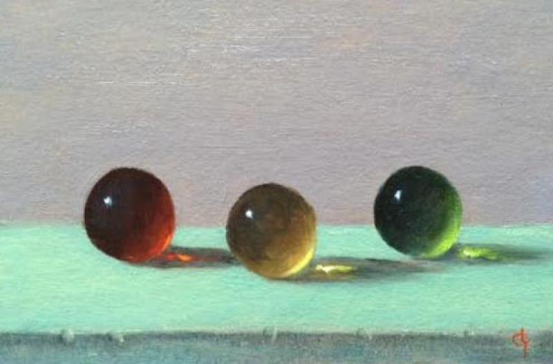 Losing My Marbles, oil on panel, 4 x 6 inches  SOLD