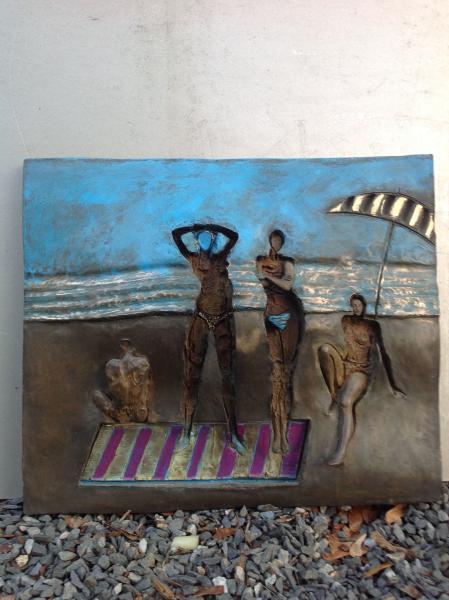 Beach Scene, bronze, 15 x 17 inches, $5,000