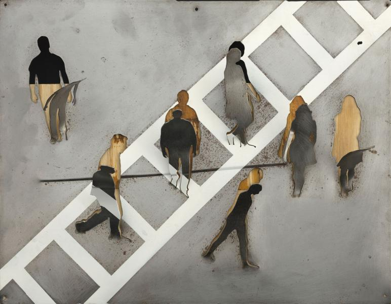 Crosswalk, steel and wood, 14 x 18 inches, $3,500