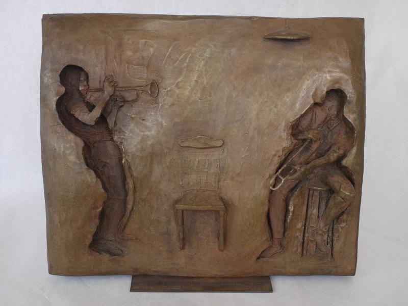 Trumpeter - Jazz Series , bronze, 14 x 16 inches , $6,500