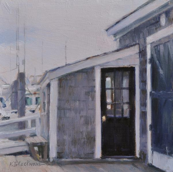 On the Boat Landing, Harwich Port, oil on panel, 6 x 6 inches   SOLD