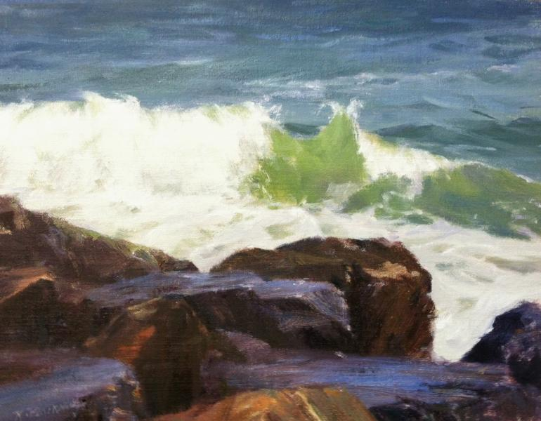Breaking Surf and Rocks, oil on mounted canvas, 11 x 14 inches   SOLD