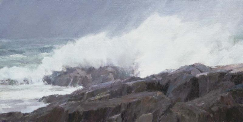 Coastal Storm, oil on canvas, 20 x 10 inches, $2,500