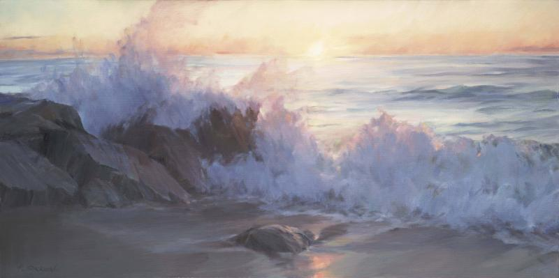 Sunrise, oil on canvas, 18 x 36 inches   SOLD