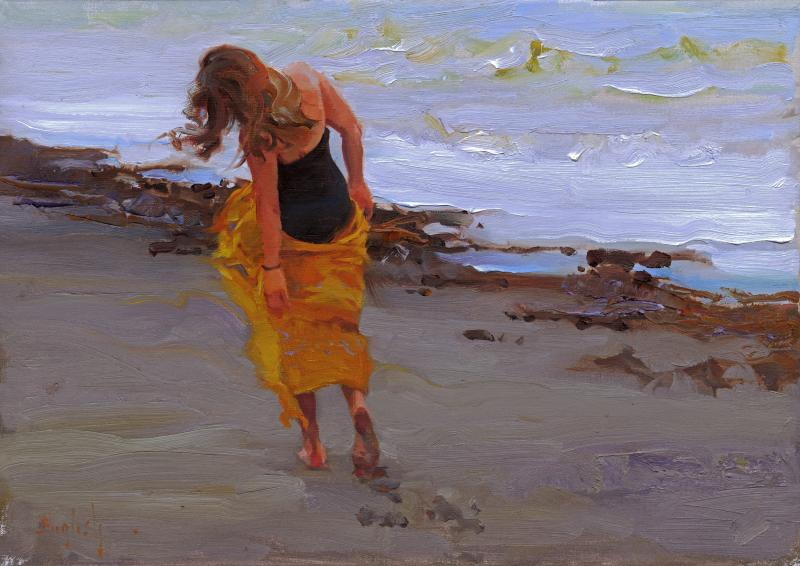 A Walk in the Sand, oil on canvas, 14 x 20 inches  SOLD