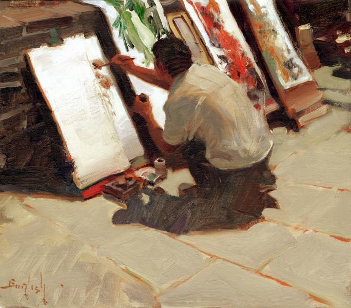 Artist at Work, oil on canvas, 13 x 15 inches  SOLD