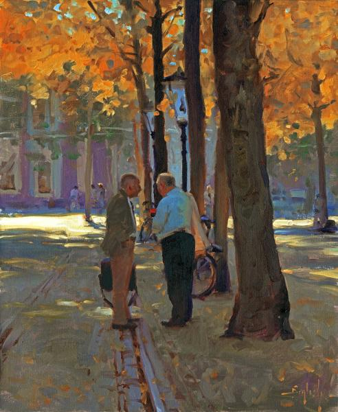Conversation in the Haag, oil on canvas, 18 x 22 inches  SOLD