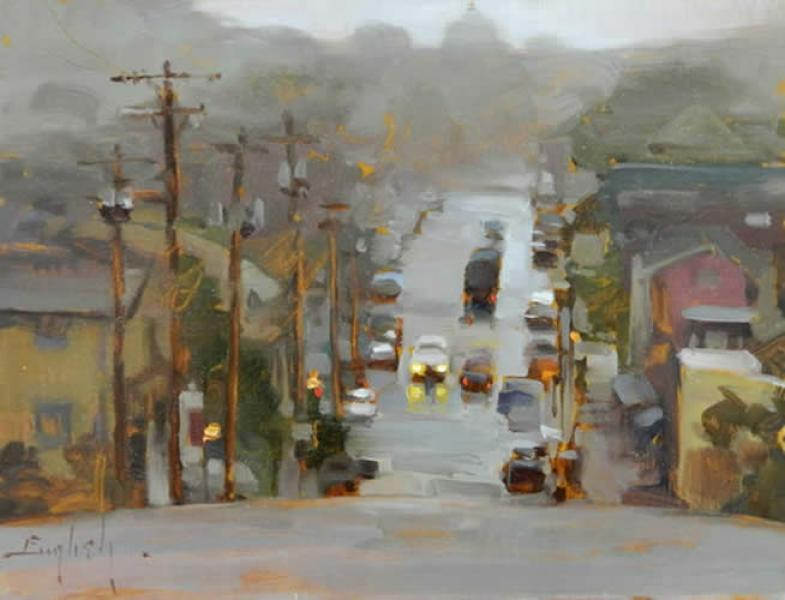 Mists of Portland, oil on panel, 10 x 12 inches  SOLD