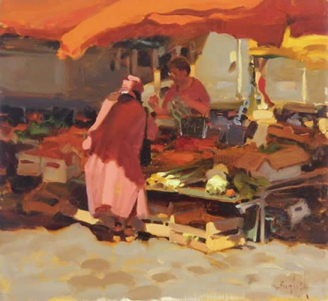 Red Market Day, oil on canvas, 13 x 14 inches  SOLD