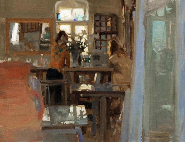 Greek Cafe, oil on canvas, 12 x 16 inches  SOLD