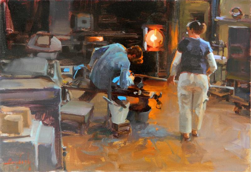 Glass Foundry, oil on canvas, 14 x 20 inches  SOLD