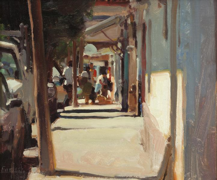Curio Shops, oil on canvas, 10 x 12 inches, $1,800
