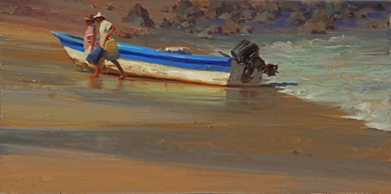 Shores of Sayulita, oil on canvas , 12 x 26 inches  SOLD