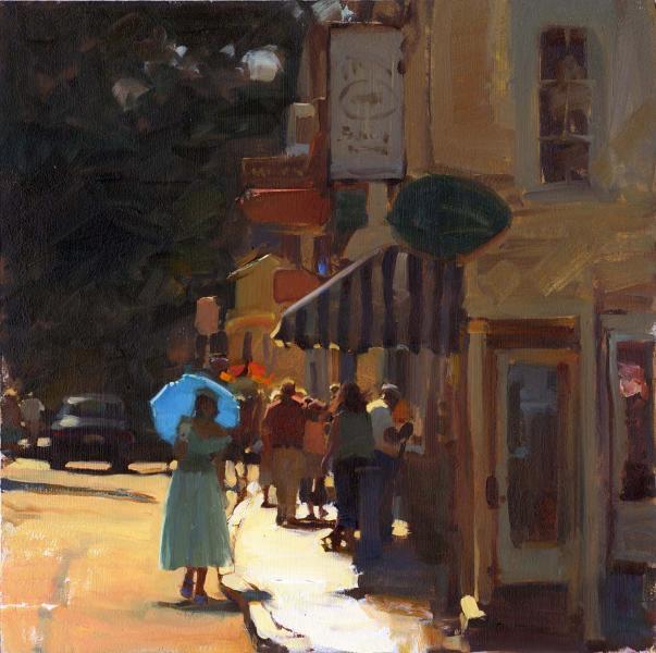 Umbrella Blue, oil on canvas, 14 x 14 inches  SOLD