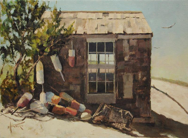 Beach Shack, oil on stretched Belgian linen, 9 x 12 inches, $1,900