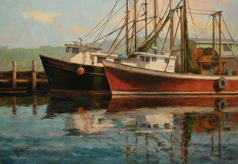Harbor Reflections, oil on stretched Belgian linen, 14 x 20 inches   SOLD