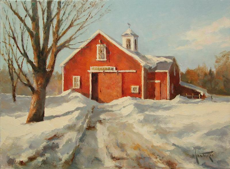 New England Winter, oil on stretched Belgian linen, 9 x 12 inches   SOLD