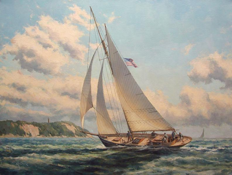 Sailing into Vineyard Sound, oil on stretched Belgian linen, 20 x 26 inches, $6,200