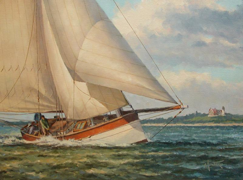 Sailing off Nobska Light, oil on stretched Belgian linen, 12 x 16 inches, $3,600