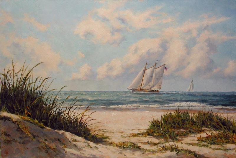 Sailing the Outer Cape, oil on stretched Belgian linen, 16 x 24 inches, $5,800