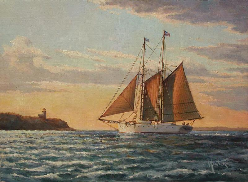 Twilight on Vineyard Sound, oil on stretched Belgian linen, 9 x 12 inches, $2,400