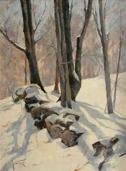 Winter Shadows, oil on stretched Belgian linen, 12 x 9 inches, $1,800