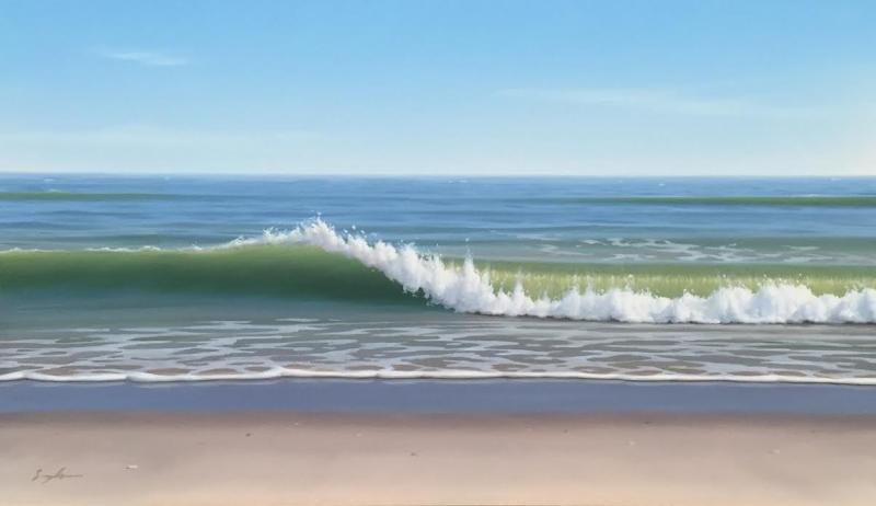 Afternoon Shore Break, oil on panel, 6 x 10 inches  SOLD