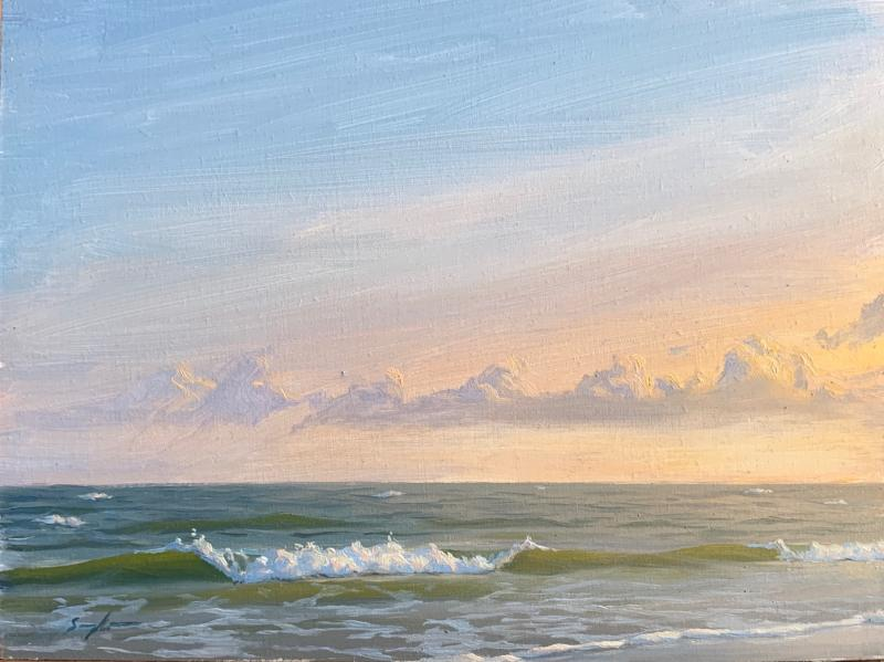 Evening, Plein Air Sea Study, oil on panel, 6 x 8 inches, $550