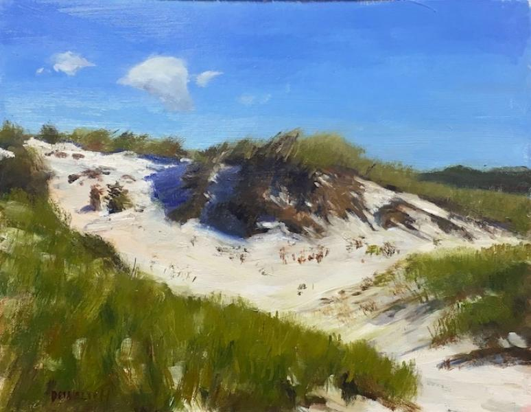 Cape Dune, Sunny Day, oil on canvas panel, 11 x 14 inches, $1,600