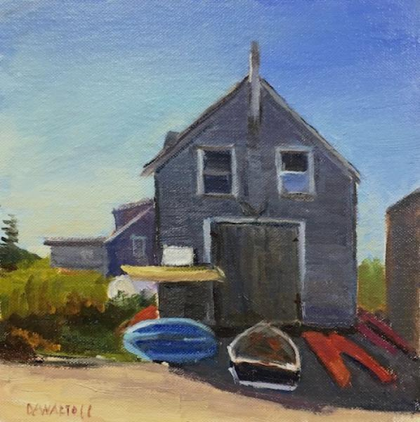 Fish House, oil on canvas panel, 8 x 8 inches, $850