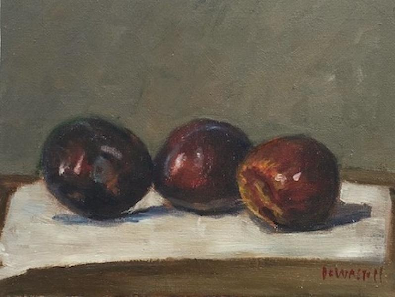 Plums, oil on canvas panel, 7 x 9 inches, $900