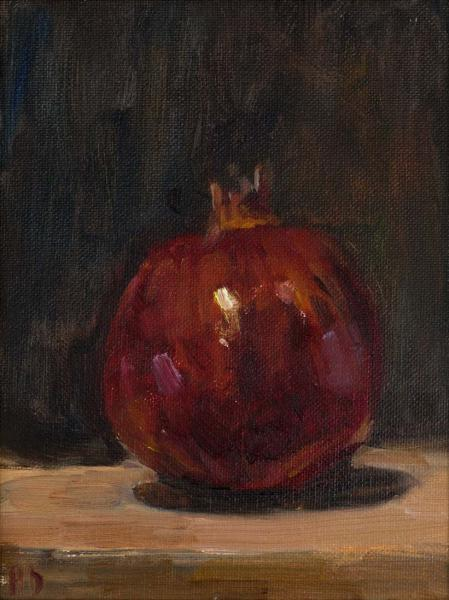 Pomegranate, oil on canvas panel, 8 x 6 inches, $400