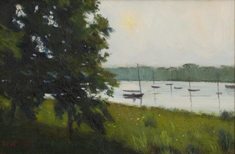 Slack Tide, oil on canvas panel, 8 x 12 inches, $600
