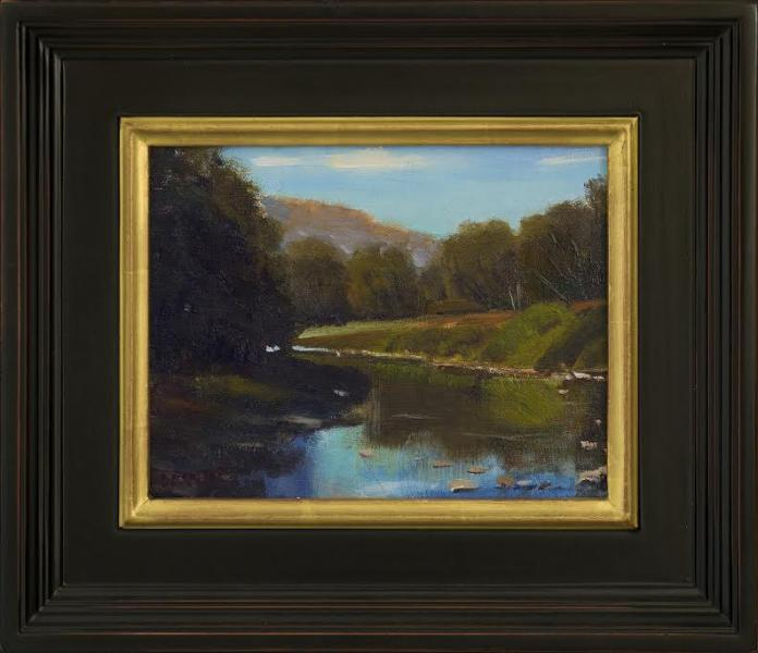 On the River, oil on canvas panel, 7 x 9 inches , $900