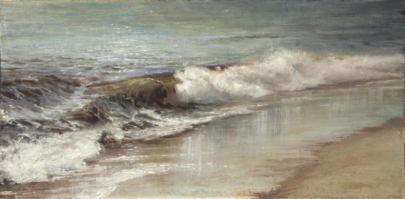 Afternoon Shoreline, John 4:14, oil on panel, 12 x 24 inches  SOLD