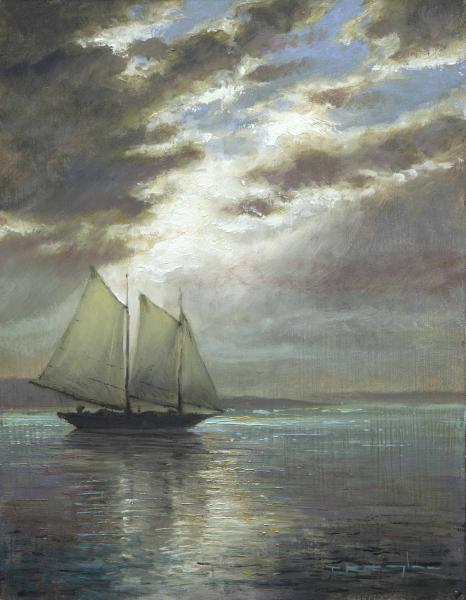 Noon Sail, Psalms 63:3, oil on linen, 9 x 12 inches  SOLD