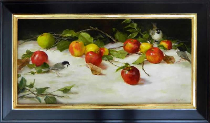 Apples and Chickadees, oil on canvas, 15 x 30 inches  SOLD