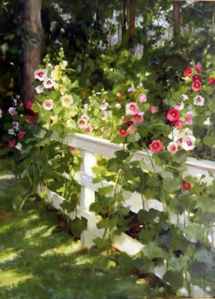 Hollyhocks on the Bay, oil on canvas, 30 x 22 inches  SOLD