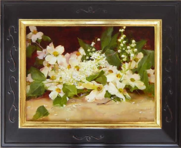 Lilacs and Dogwood, oil on panel, 12 x 16 inches  SOLD