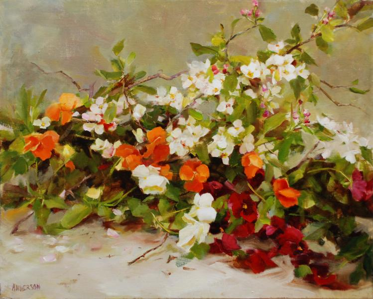 Apple Blossoms and Pansies, oil on canvas, 16 x 20 inches  SOLD
