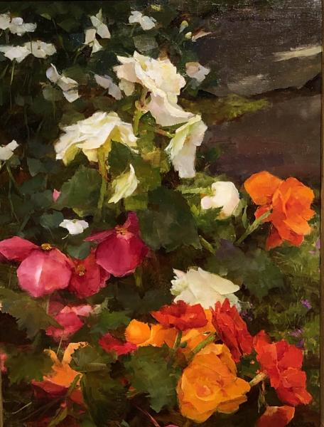 Begonias and Impatiens, oil on panel, 16 x 12 inches  SOLD