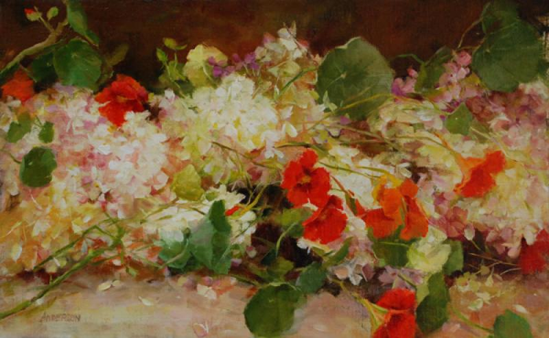 Hydrangea and Nasturtium, oil on canvas, 11 x 16 inches  SOLD