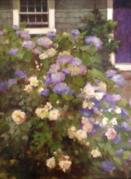 Blue Hydrangea and Roses, oil on board, 16 x 12 inches  SOLD