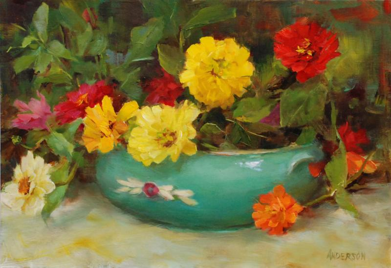 Mixed Zinnias in Blue, oil on panel, 10  x 14 inches   SOLD
